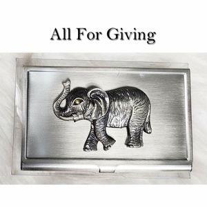 Elephant Safari Business Card Holder NWT